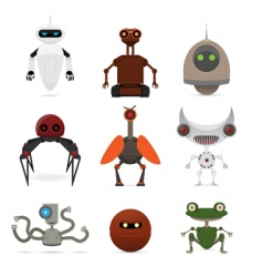 set of different robots vector image