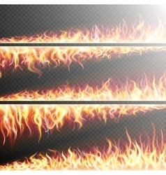 Set of fire flames on transparent eps 10 vector