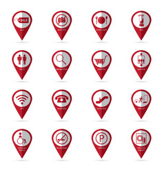 Shopping mall icons with location icon vector