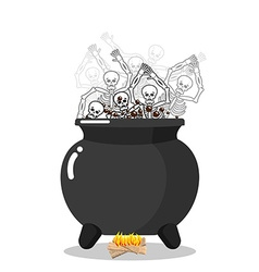 Sinners in cauldron in hell Skeletons are cooked vector image vector image