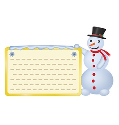 snowman with greetings card vector image vector image