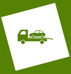 Tow car evacuation sign white icon vector