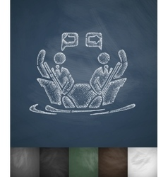 Two businessmen in boat icon hand drawn vector
