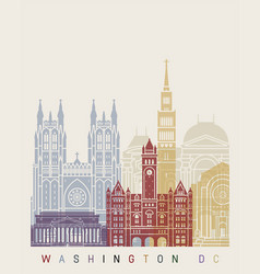 washinton dc v2 skyline poster vector image vector image