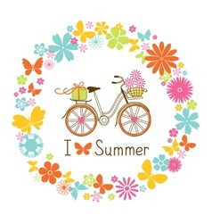Wreath and Bike vector image vector image