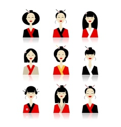 Set of asian woman icons for your design vector
