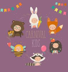 Set of cute kids wearing animal costumes vector