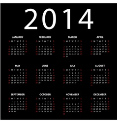Calendar for 2014 on black background vector