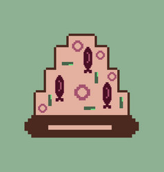 Pixel icon in flat style pizza with tuna vector