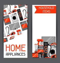 Banners with home appliances household items for vector