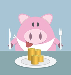 Piggy bank eating coin vector