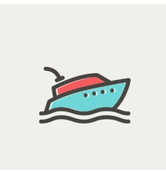 Yacht thin line icon vector