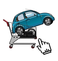 Car and tires in a shopping cart vector