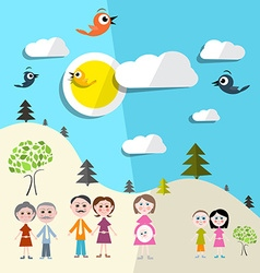 Family in nature - landscape vector