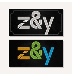 Letter z and y logo alphabet chalk icon set vector