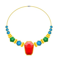 Necklace of precious stones Beautiful rich jewelry vector image