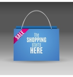 Blue shopping paper bag vector