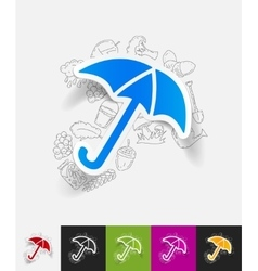 Umbrella paper sticker with hand drawn elements vector