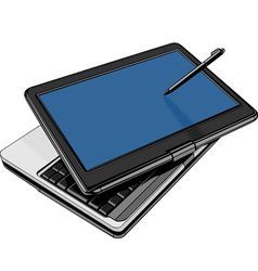 Modern laptop with rotating touch screen vector