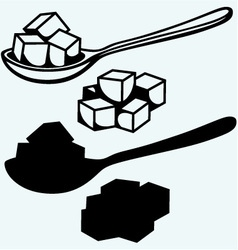 Refined white sugar spoon vector image