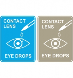 Contact lens eye drops vector