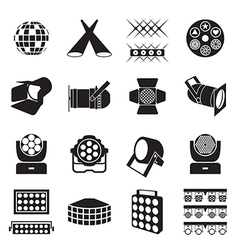 Stage lighting icons vector