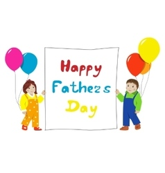 Happy fathers day little children with banner vector