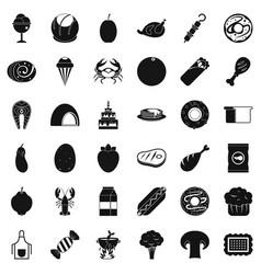 autumn food icons set simle style vector image