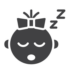 baby girl sleep solid icon child and infant vector image