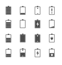 battery charge level icons set vector image