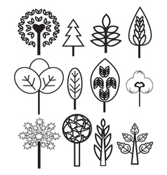 collection of Plants and Trees vector image vector image