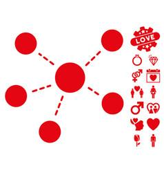 connections icon with valentine bonus vector image