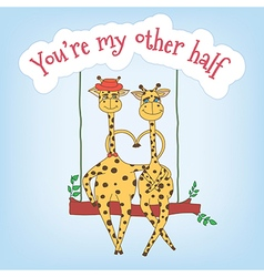 Couple of giraffes on a swing and the inscription vector image