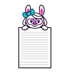 cute cartoon bunny girl with big paper page vector image vector image