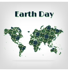 Earth Day card decorative map with shadow vector image vector image
