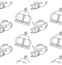 English culture teatime crown and teapot cup vector