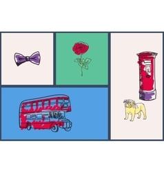 English national symbols doodle set vector