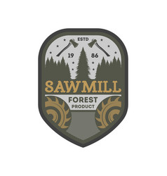 Forest sawmill vintage isolated label vector