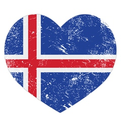 Iceland heart retro flag vector image vector image
