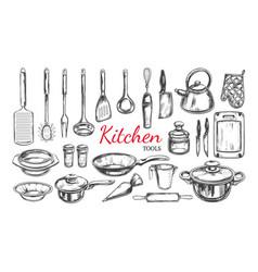 kitchen utensil tools set 1 vector image