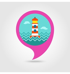 Lighthouse pin map icon Summer Marine vector image vector image
