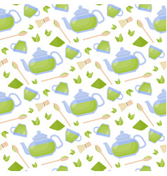 Matcha tea flat seamless pattern vector