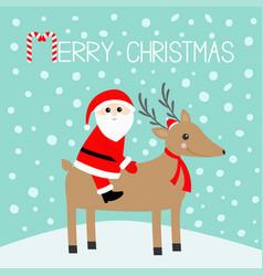 merry christmas santa claus cute cartoon deer vector image