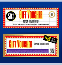 Movie ticket sign theme gift voucher or gift vector
