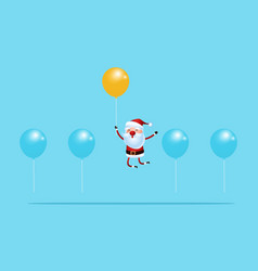 Outstanding santa claus rises above with balloon vector