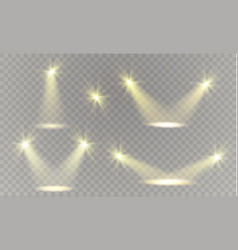 realistic white gray glowing spotlights on vector image