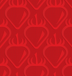 Red strawberry on checkered background vector image