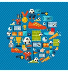 Soccer icons set shape circle vector