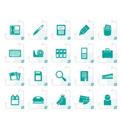 Stylized office tools icons vector
