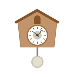 Vintage wooden cuckoo clock icon flat style vector